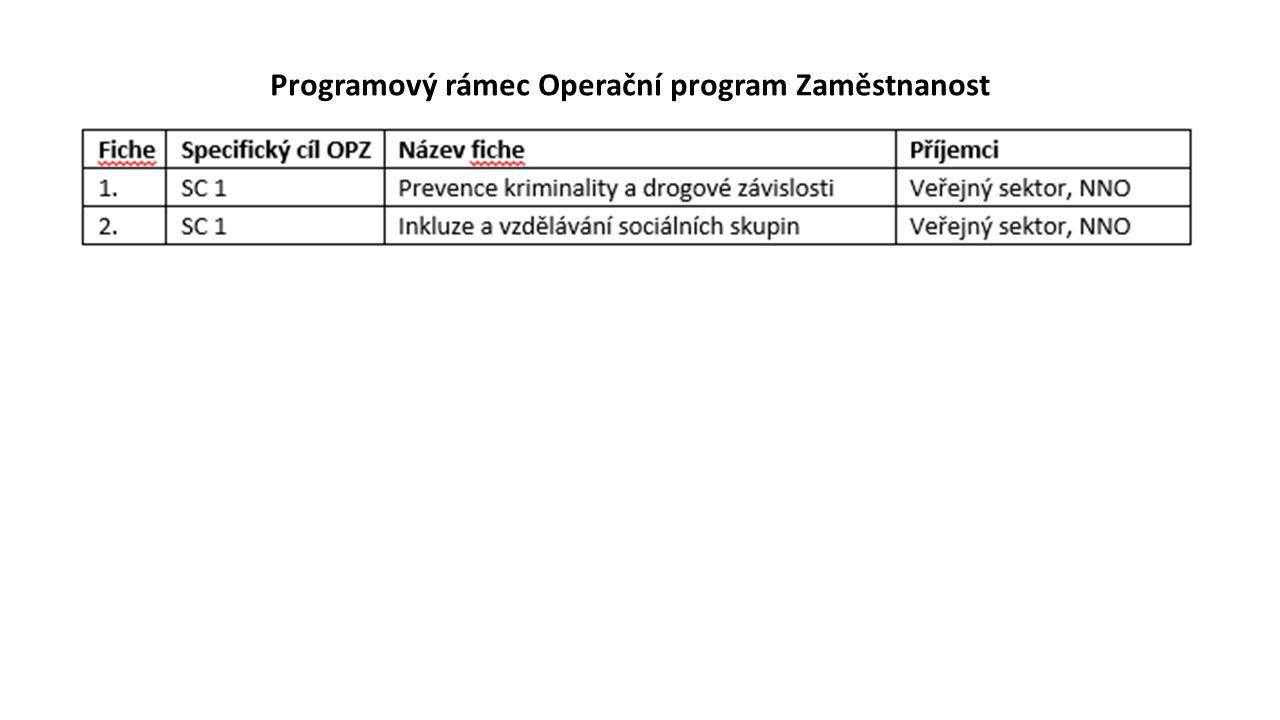 Programový rámec Operační program Zaměstnanost