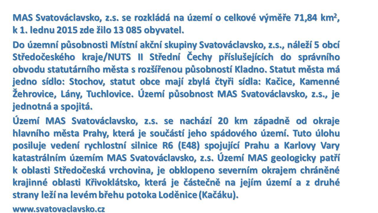 MAS Svatováclavsko, z.s. se rozkládá na území o celkové výměře 71,84 km 2, k 1.