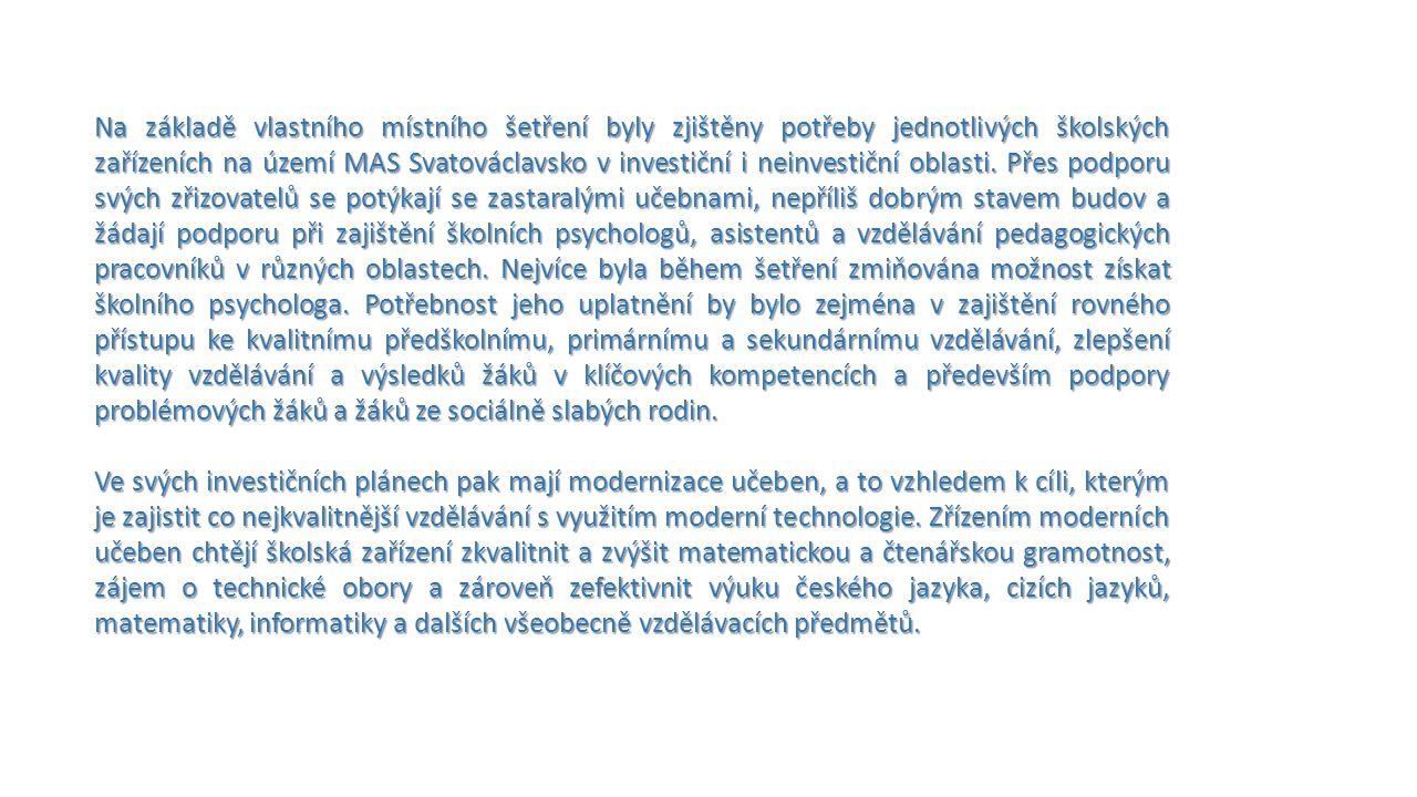 Na základě vlastního místního šetření byly zjištěny potřeby jednotlivých školských zařízeních na území MAS Svatováclavsko v investiční i neinvestiční oblasti.