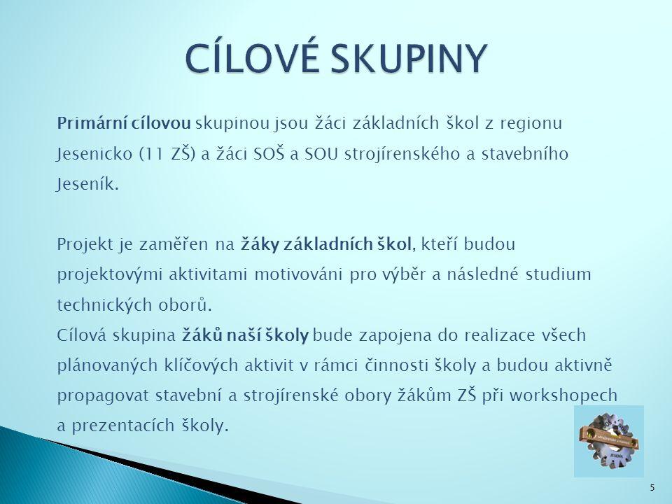 5 Primární cílovou skupinou jsou žáci základních škol z regionu Jesenicko (11 ZŠ) a žáci SOŠ a SOU strojírenského a stavebního Jeseník.
