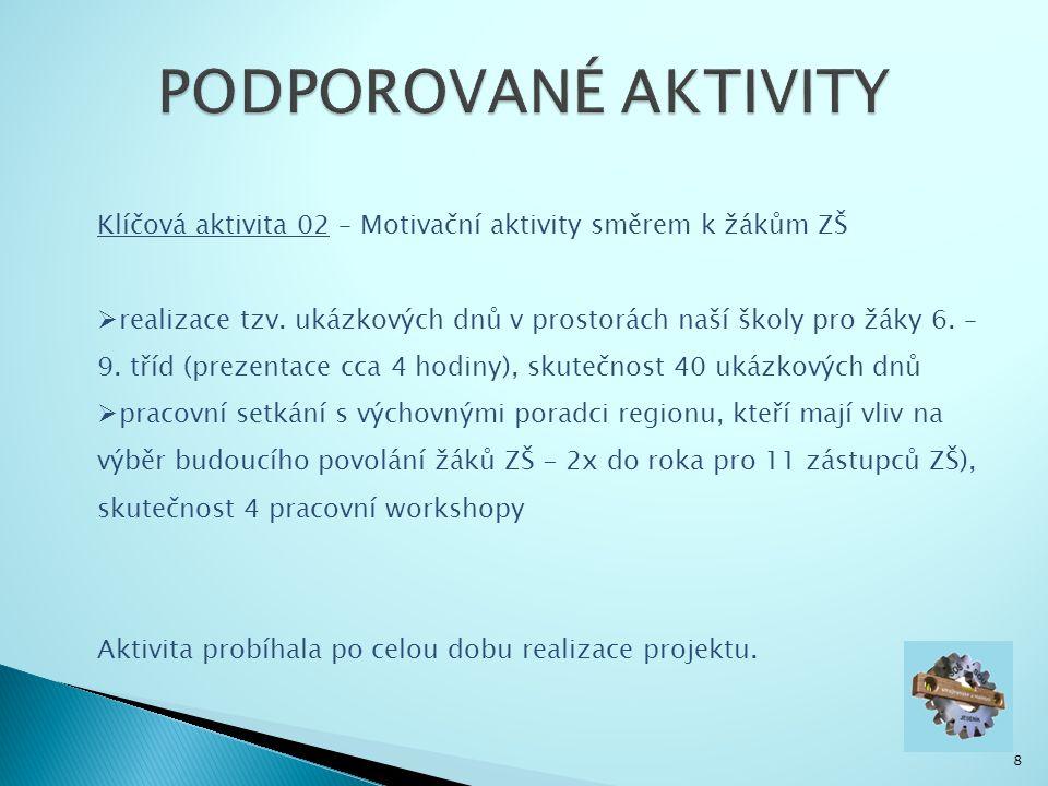 8 Klíčová aktivita 02 – Motivační aktivity směrem k žákům ZŠ  realizace tzv.