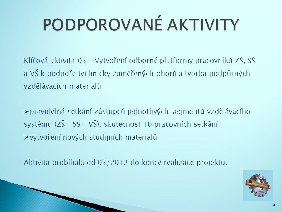 9 Klíčová aktivita 03 – Vytvoření odborné platformy pracovníků ZŠ, SŠ a VŠ k podpoře technicky zaměřených oborů a tvorba podpůrných vzdělávacích materiálů  pravidelná setkání zástupců jednotlivých segmentů vzdělávacího systému (ZŠ – SŠ – VŠ), skutečnost 10 pracovních setkání  vytvoření nových studijních materiálů Aktivita probíhala od 03/2012 do konce realizace projektu.