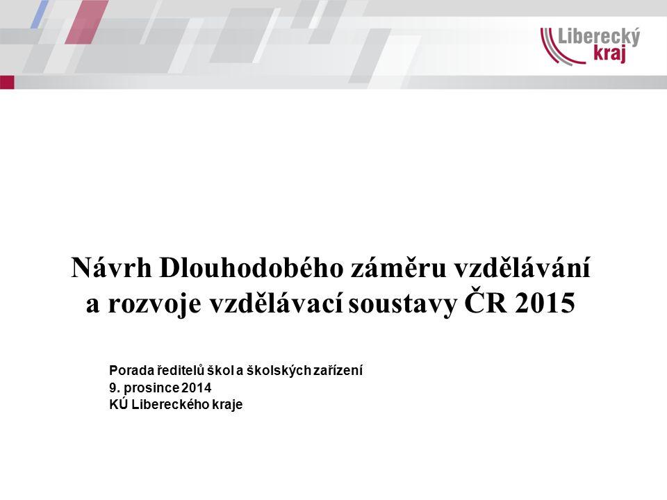 Návrh Dlouhodobého záměru vzdělávání a rozvoje vzdělávací soustavy ČR 2015 Porada ředitelů škol a školských zařízení 9.