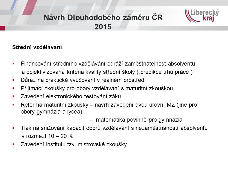 Návrh Dlouhodobého záměru ČR 2015 Střední vzdělávání  Financování středního vzdělávání odráží zaměstnatelnost absolventů a objektivizovaná kritéria k