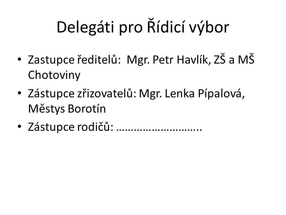 Delegáti pro Řídicí výbor Zastupce ředitelů: Mgr. Petr Havlík, ZŠ a MŠ Chotoviny Zástupce zřizovatelů: Mgr. Lenka Pípalová, Městys Borotín Zástupce ro