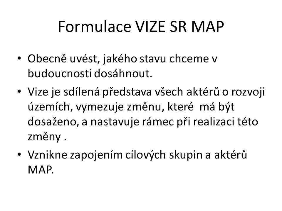 Formulace VIZE SR MAP Obecně uvést, jakého stavu chceme v budoucnosti dosáhnout. Vize je sdílená představa všech aktérů o rozvoji územích, vymezuje zm