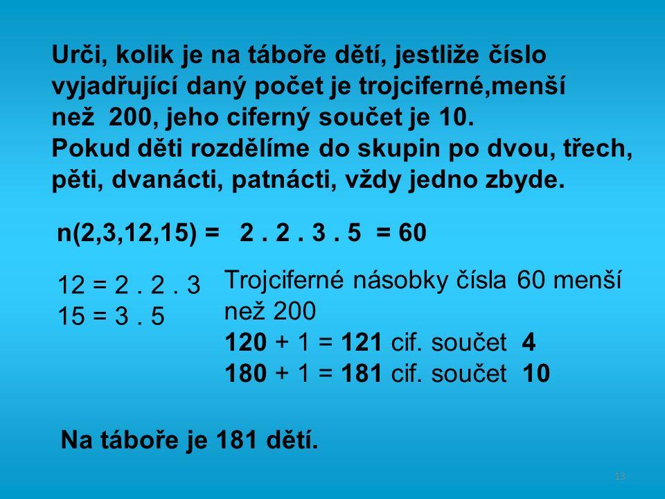 13 Urči, kolik je na táboře dětí, jestliže číslo vyjadřující daný počet je trojciferné,menší než 200, jeho ciferný součet je 10.