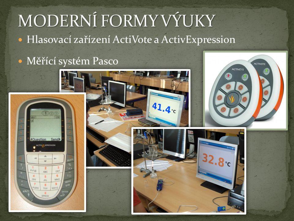 Hlasovací zařízení ActiVote a ActivExpression Měřící systém Pasco