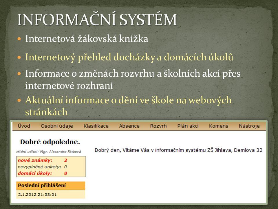 Internetová žákovská knížka Internetový přehled docházky a domácích úkolů Informace o změnách rozvrhu a školních akcí přes internetové rozhraní Aktuál