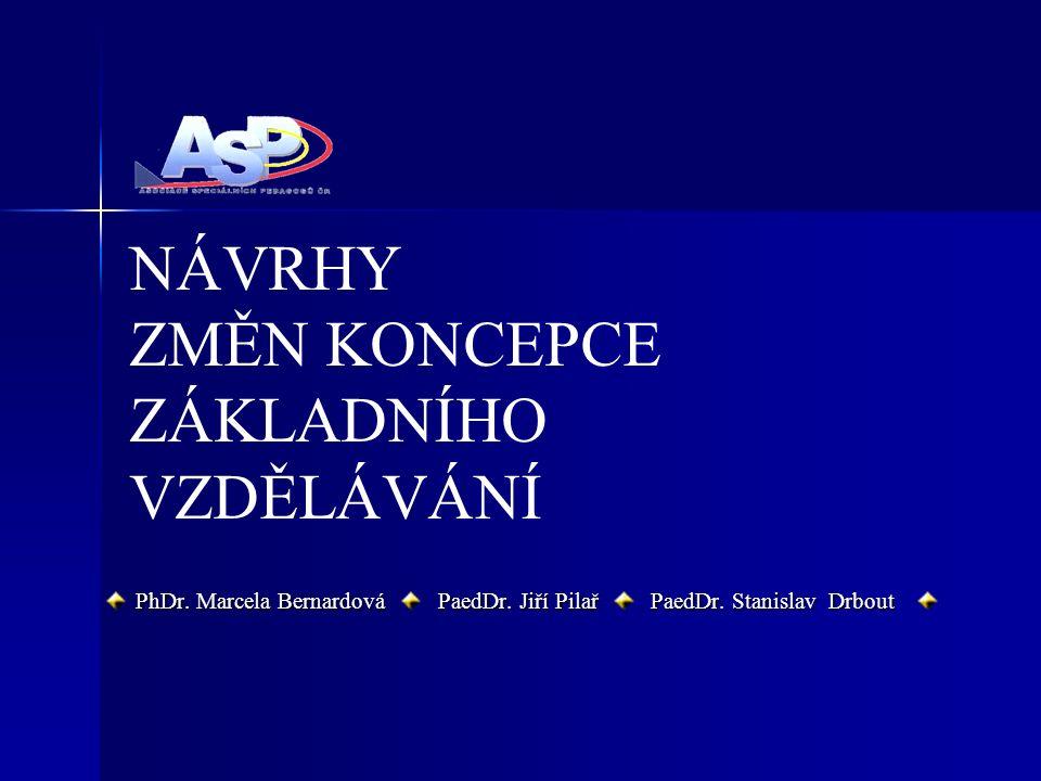 NÁVRHY ZMĚN KONCEPCE ZÁKLADNÍHO VZDĚLÁVÁNÍ PhDr. Marcela Bernardová PaedDr.