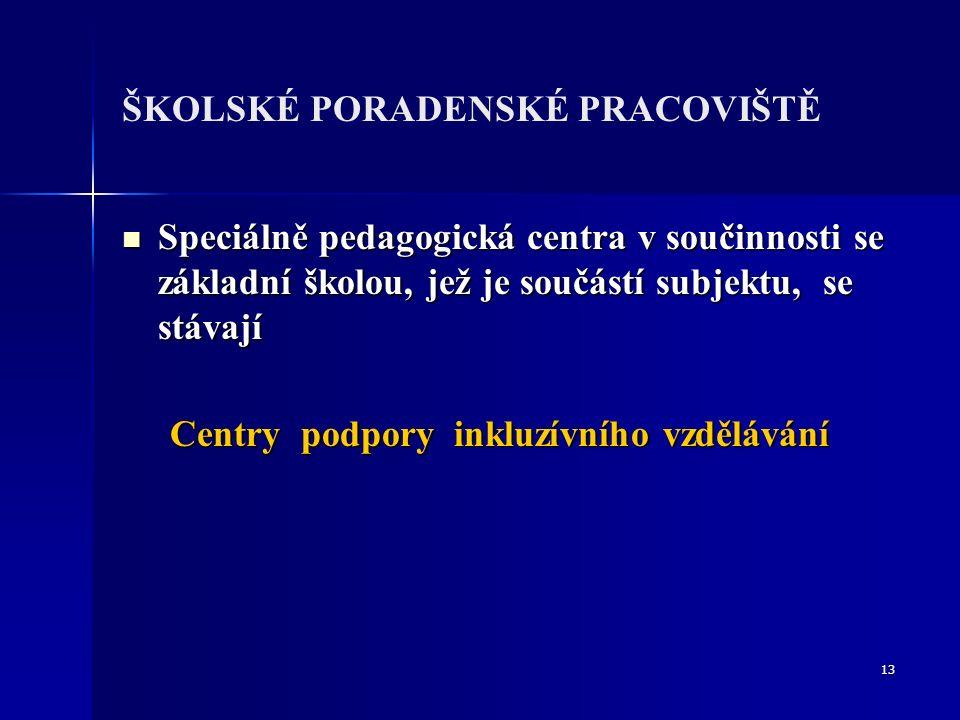 13 ŠKOLSKÉ PORADENSKÉ PRACOVIŠTĚ Speciálně pedagogická centra v součinnosti se základní školou, jež je součástí subjektu, se stávají Speciálně pedagogická centra v součinnosti se základní školou, jež je součástí subjektu, se stávají Centry podpory inkluzívního vzdělávání