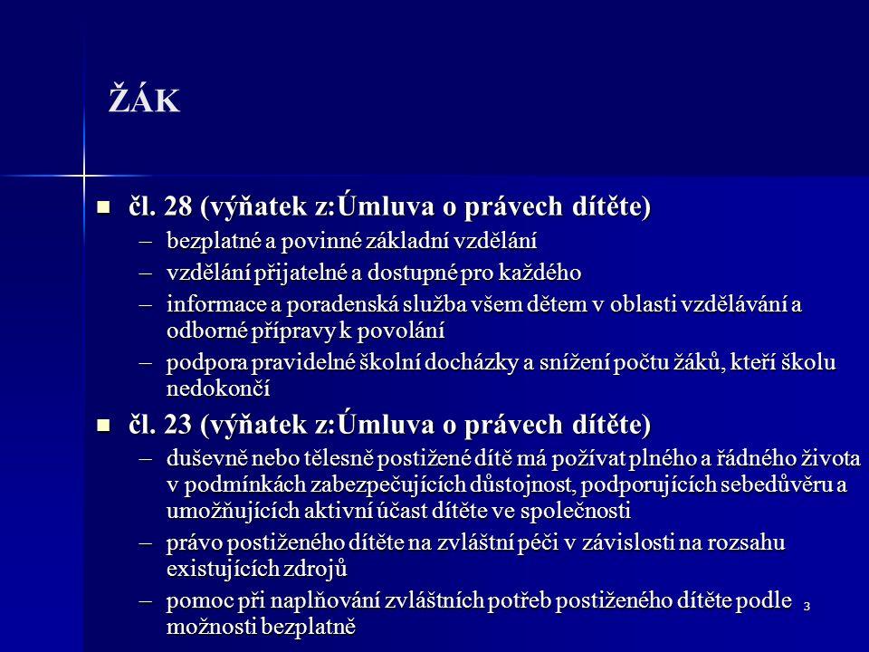 3 ŽÁK čl. 28 (výňatek z:Úmluva o právech dítěte) čl.