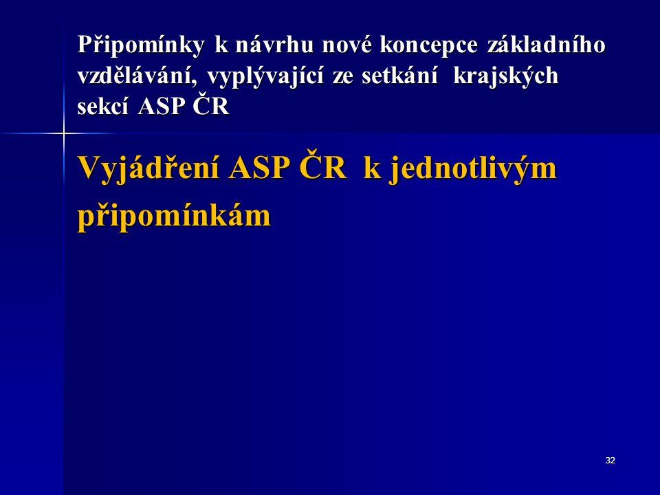 Připomínky k návrhu nové koncepce základního vzdělávání, vyplývající ze setkání krajských sekcí ASP ČR Vyjádření ASP ČR k jednotlivým připomínkám 32