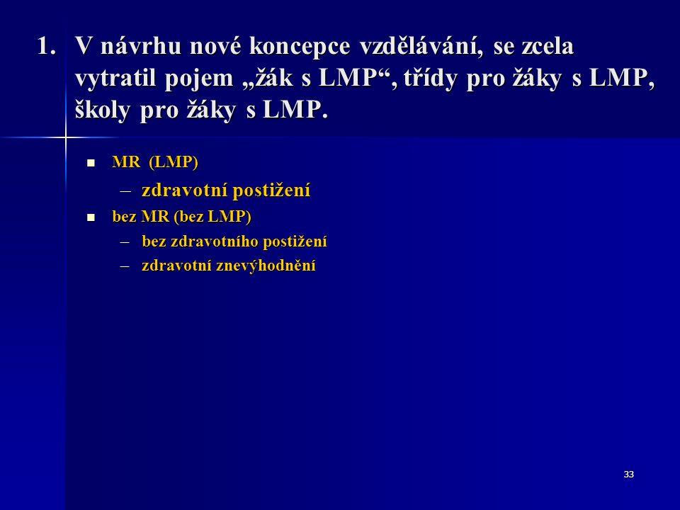 """1.V návrhu nové koncepce vzdělávání, se zcela vytratil pojem """"žák s LMP"""", třídy pro žáky s LMP, školy pro žáky s LMP. MR (LMP) MR (LMP) –zdravotní pos"""