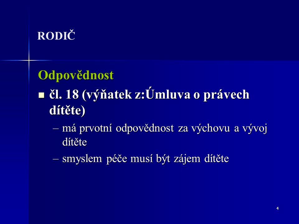 4 RODIČ Odpovědnost čl. 18 (výňatek z:Úmluva o právech dítěte) čl.
