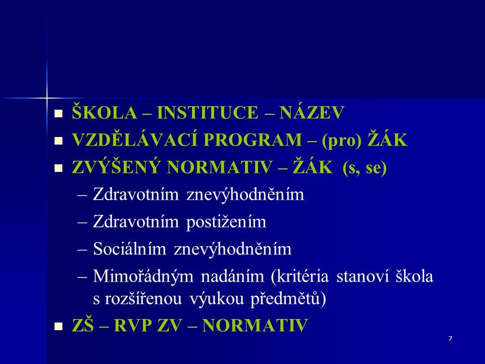 7 ŠKOLA – INSTITUCE – NÁZEV VZDĚLÁVACÍ PROGRAM – (pro) ŽÁK ZVÝŠENÝ NORMATIV – ŽÁK (s, se) – –Zdravotním znevýhodněním – –Zdravotním postižením – –Sociálním znevýhodněním – –Mimořádným nadáním (kritéria stanoví škola s rozšířenou výukou předmětů) ZŠ – RVP ZV – NORMATIV