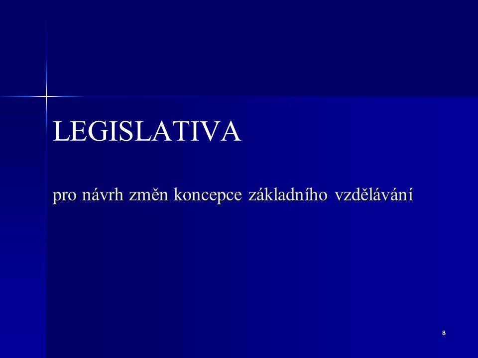 8 pro návrh změn koncepce základního vzdělávání LEGISLATIVA pro návrh změn koncepce základního vzdělávání