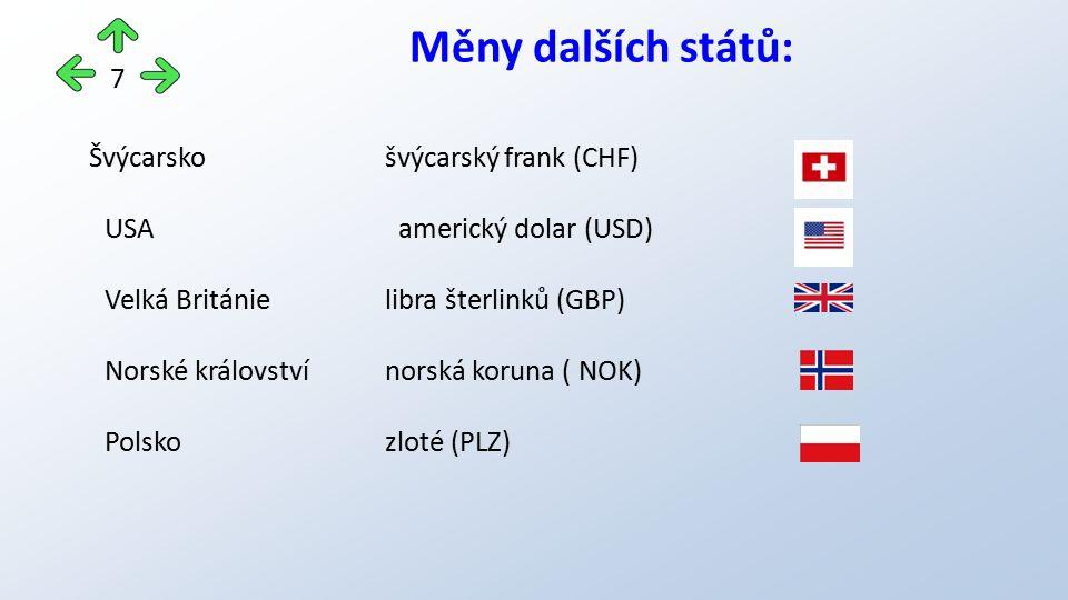 Měny dalších států: Švýcarsko švýcarský frank (CHF) USA americký dolar (USD) Velká Británielibra šterlinků (GBP) Norské královstvínorská koruna ( NOK)