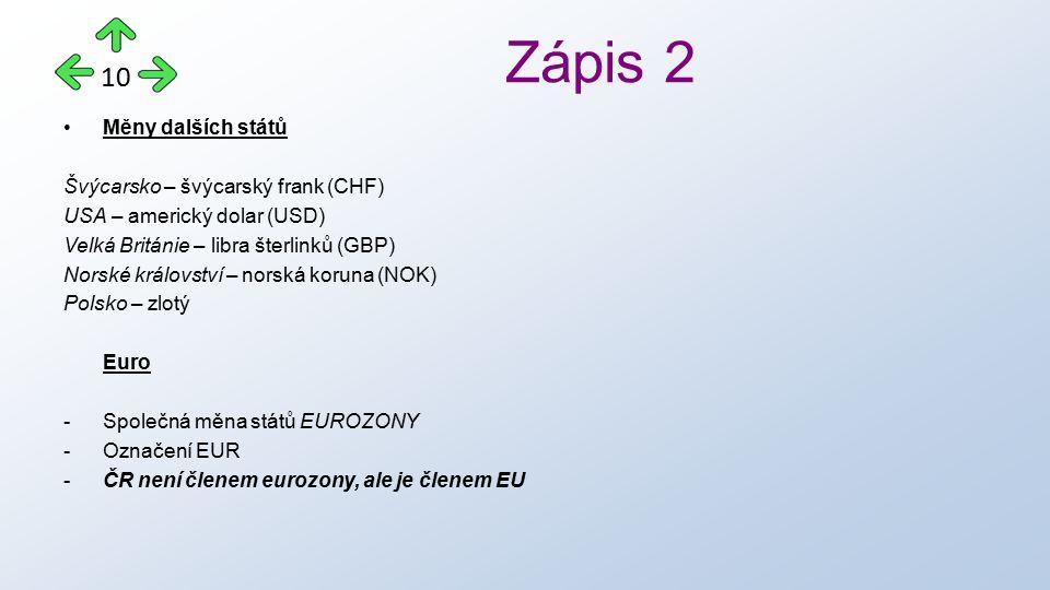 Měny dalších států Švýcarsko – švýcarský frank (CHF) USA – americký dolar (USD) Velká Británie – libra šterlinků (GBP) Norské království – norská koruna (NOK) Polsko – zlotý Euro -Společná měna států EUROZONY -Označení EUR - ČR není členem eurozony, ale je členem EU Zápis 2 10
