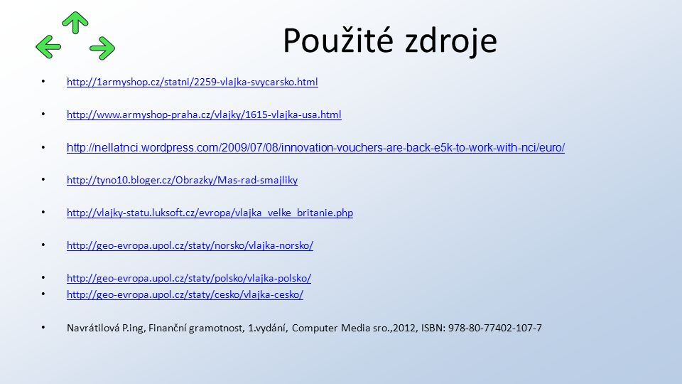http://1armyshop.cz/statni/2259-vlajka-svycarsko.html http://www.armyshop-praha.cz/vlajky/1615-vlajka-usa.html http://nellatnci.wordpress.com/2009/07/08/innovation-vouchers-are-back-e5k-to-work-with-nci/euro/ http://tyno10.bloger.cz/Obrazky/Mas-rad-smajliky http://vlajky-statu.luksoft.cz/evropa/vlajka_velke_britanie.php http://geo-evropa.upol.cz/staty/norsko/vlajka-norsko/ http://geo-evropa.upol.cz/staty/polsko/vlajka-polsko/ http://geo-evropa.upol.cz/staty/cesko/vlajka-cesko/ Navrátilová P.ing, Finanční gramotnost, 1.vydání, Computer Media sro.,2012, ISBN: 978-80-77402-107-7 Použité zdroje