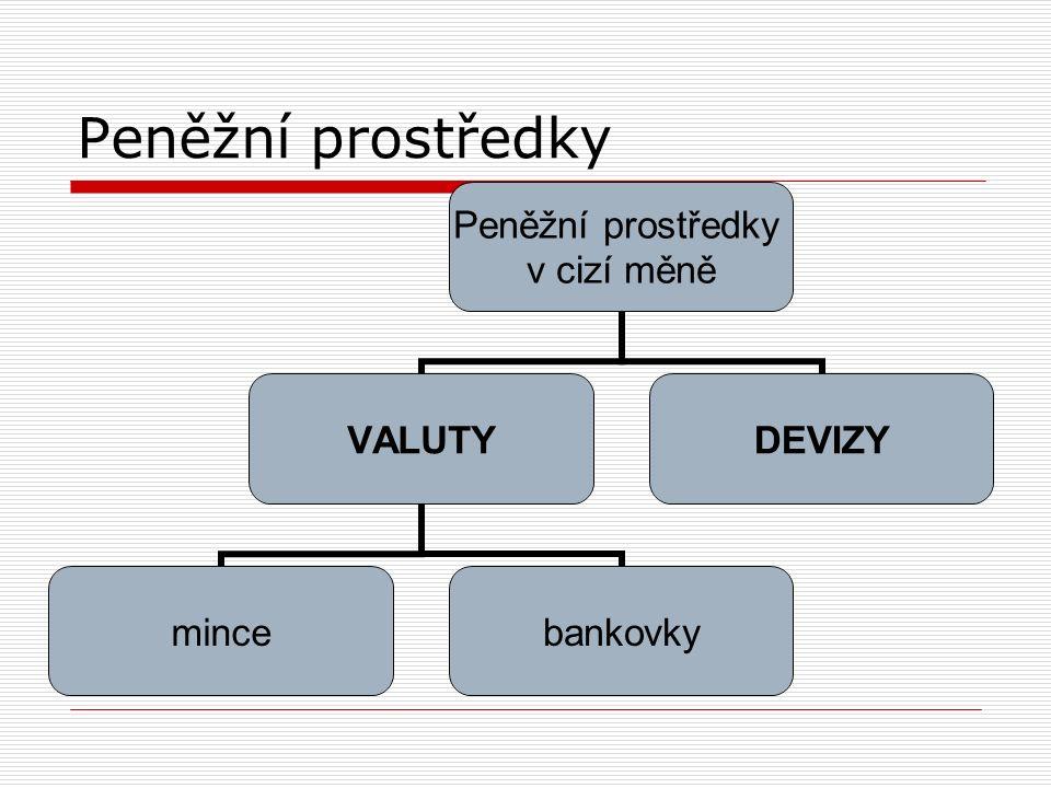 v cizí měně VALUTY mincebankovky DEVIZY