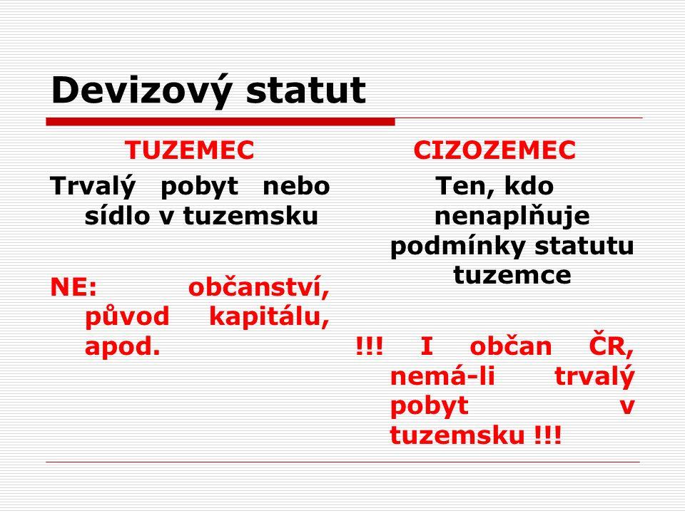 Devizový statut TUZEMEC Trvalý pobyt nebo sídlo v tuzemsku NE: občanství, původ kapitálu, apod.