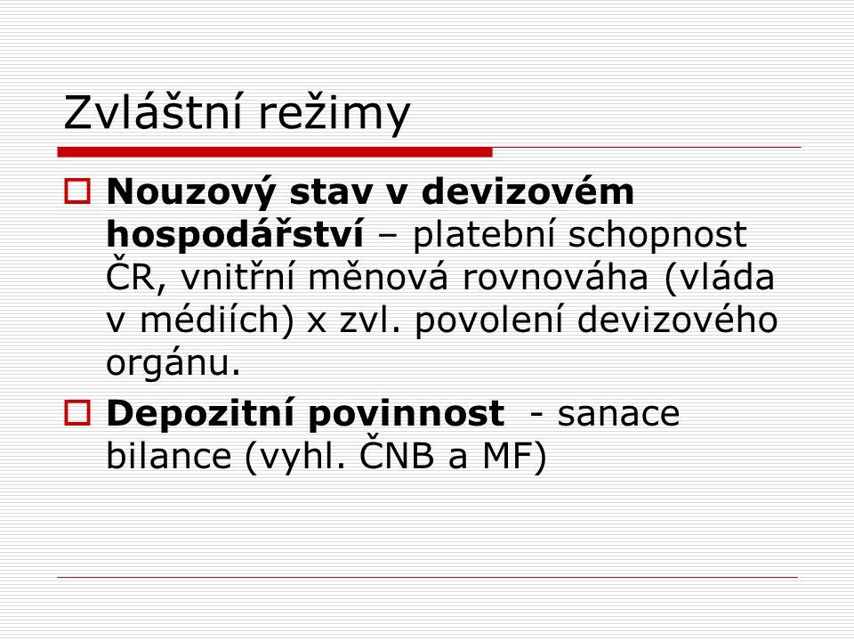 Zvláštní režimy  Nouzový stav v devizovém hospodářství – platební schopnost ČR, vnitřní měnová rovnováha (vláda v médiích) x zvl.