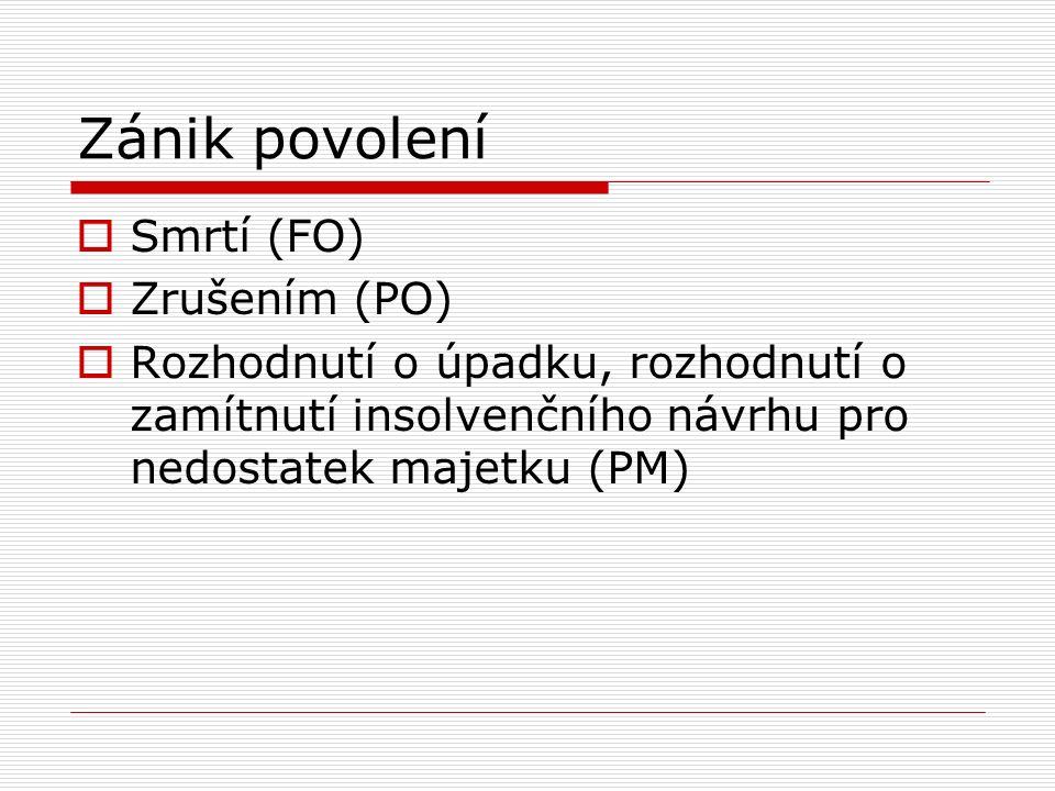 Zánik povolení  Smrtí (FO)  Zrušením (PO)  Rozhodnutí o úpadku, rozhodnutí o zamítnutí insolvenčního návrhu pro nedostatek majetku (PM)