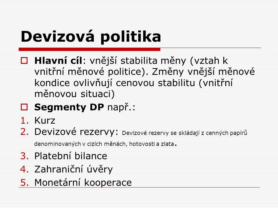 Devizová politika  Hlavní cíl: vnější stabilita měny (vztah k vnitřní měnové politice).