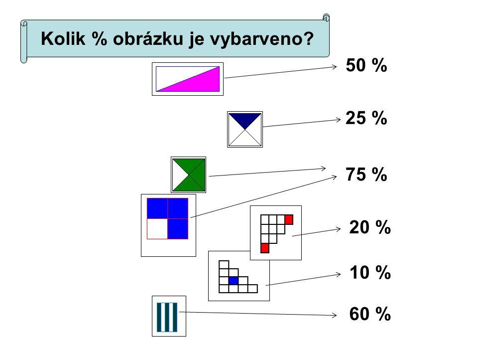 50 % 25 % 75 % 20 % 10 % 60 % Kolik % obrázku je vybarveno