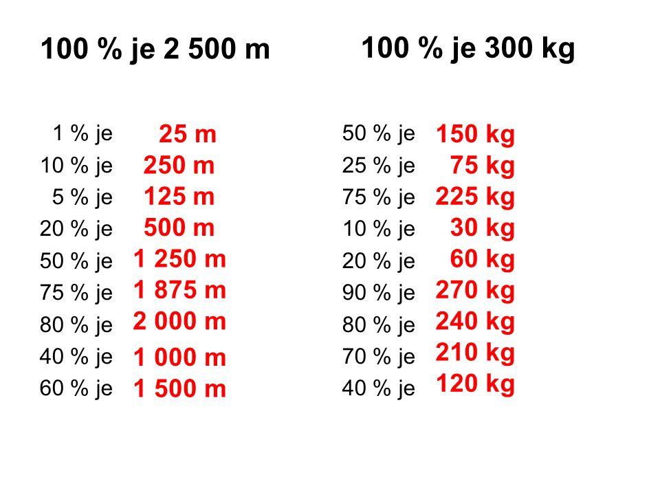 100 % je 2 500 m 1 % je 10 % je 5 % je 20 % je 50 % je 75 % je 80 % je 40 % je 60 % je 50 % je 25 % je 75 % je 10 % je 20 % je 90 % je 80 % je 70 % je 40 % je 100 % je 300 kg 25 m 250 m 125 m 500 m 1 250 m 1 875 m 2 000 m 1 000 m 1 500 m 150 kg 75 kg 225 kg 30 kg 60 kg 270 kg 240 kg 210 kg 120 kg