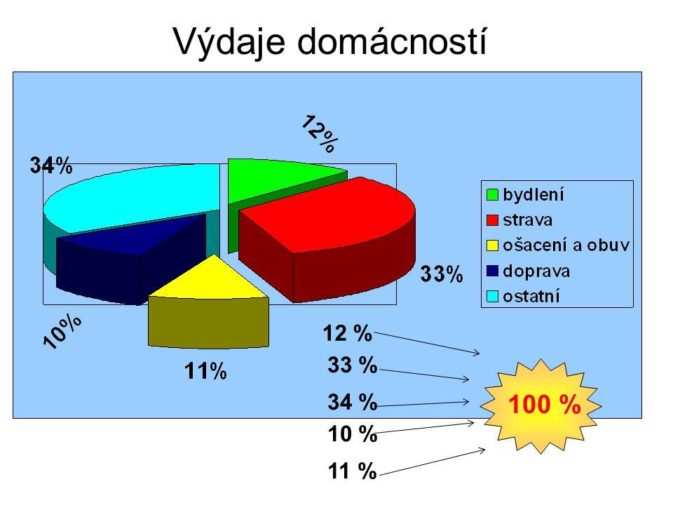 Výdaje domácností v roce 1997 33 % 34 % 10 % 11 % 12 % 100 %