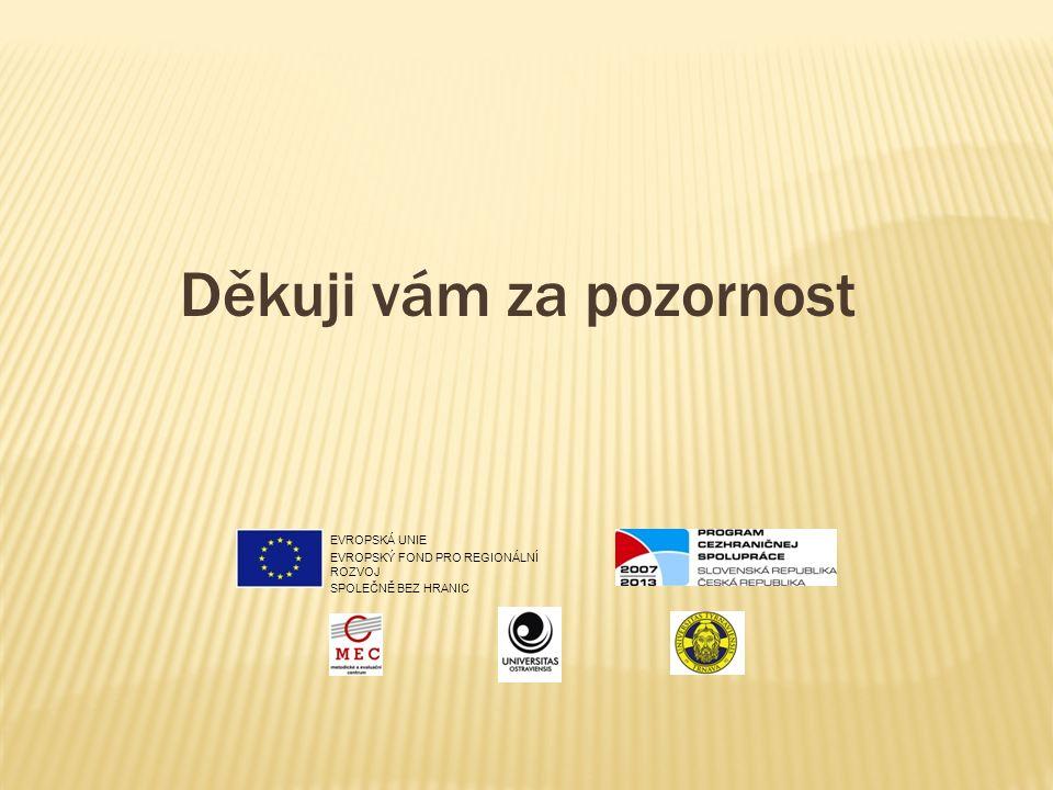 Děkuji vám za pozornost EVROPSKÁ UNIE EVROPSKÝ FOND PRO REGIONÁLNÍ ROZVOJ SPOLEČNĚ BEZ HRANIC