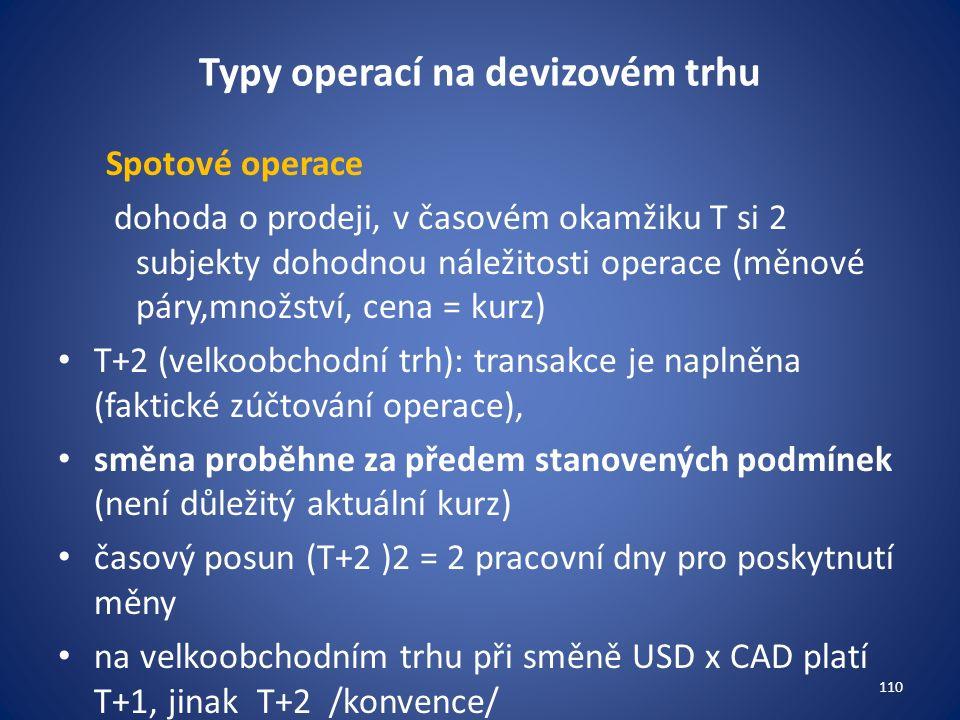 Typy operací na devizovém trhu Spotové operace dohoda o prodeji, v časovém okamžiku T si 2 subjekty dohodnou náležitosti operace (měnové páry,množství, cena = kurz) T+2 (velkoobchodní trh): transakce je naplněna (faktické zúčtování operace), směna proběhne za předem stanovených podmínek (není důležitý aktuální kurz) časový posun (T+2 )2 = 2 pracovní dny pro poskytnutí měny na velkoobchodním trhu při směně USD x CAD platí T+1, jinak T+2 /konvence/ 110