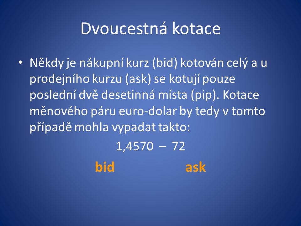 Dvoucestná kotace Někdy je nákupní kurz (bid) kotován celý a u prodejního kurzu (ask) se kotují pouze poslední dvě desetinná místa (pip). Kotace měnov
