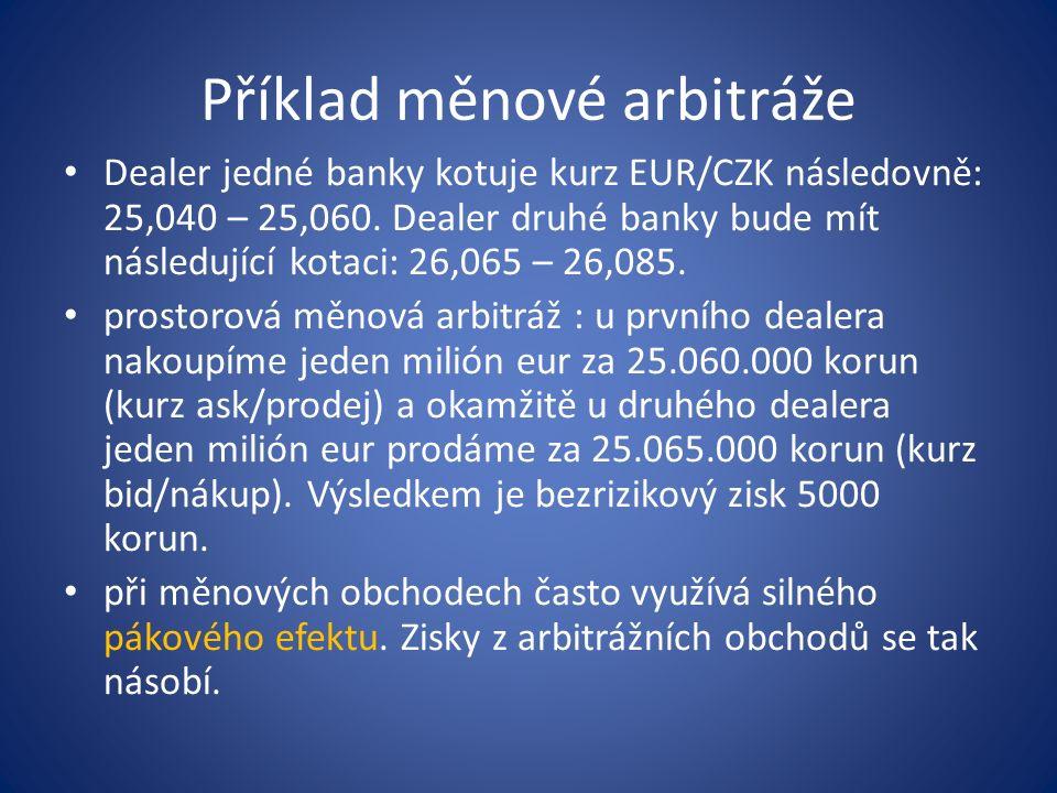 Příklad měnové arbitráže Dealer jedné banky kotuje kurz EUR/CZK následovně: 25,040 – 25,060. Dealer druhé banky bude mít následující kotaci: 26,065 –