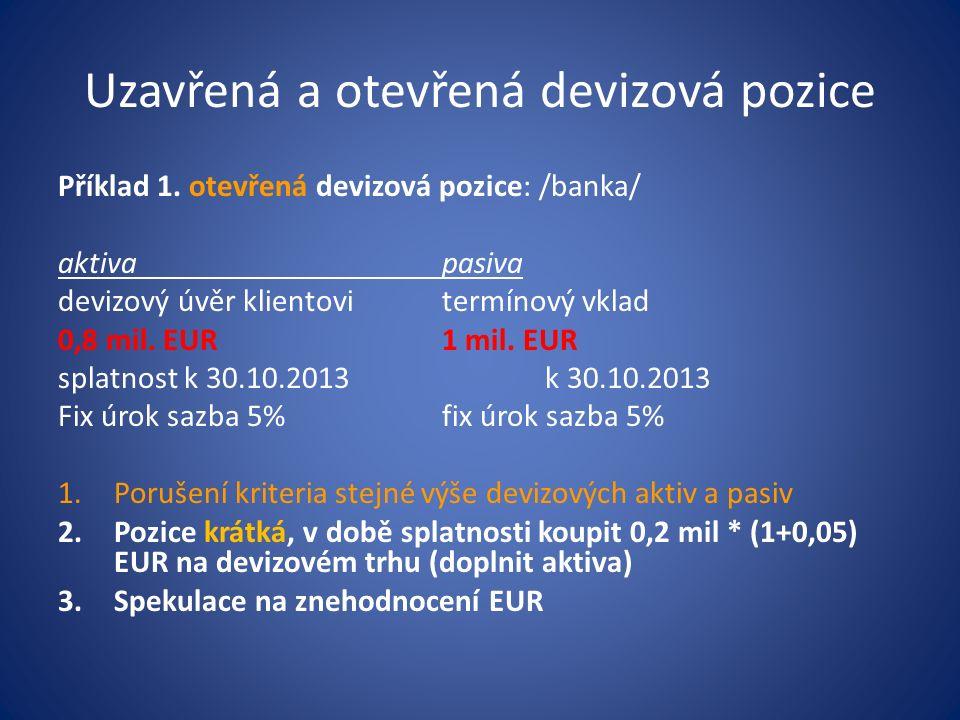 Uzavřená a otevřená devizová pozice Příklad 1.