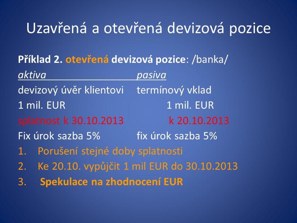 Uzavřená a otevřená devizová pozice Příklad 2. otevřená devizová pozice: /banka/ aktivapasiva devizový úvěr klientovitermínový vklad1 mil. EUR splatno