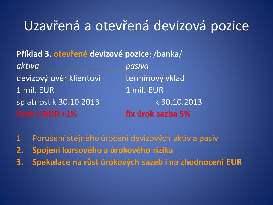 Uzavřená a otevřená devizová pozice Příklad 3. otevřené devizové pozice: /banka/ aktivapasiva devizový úvěr klientovitermínový vklad1 mil. EUR splatno