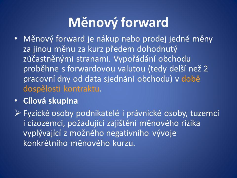 Měnový forward Měnový forward je nákup nebo prodej jedné měny za jinou měnu za kurz předem dohodnutý zúčastněnými stranami. Vypořádání obchodu proběhn