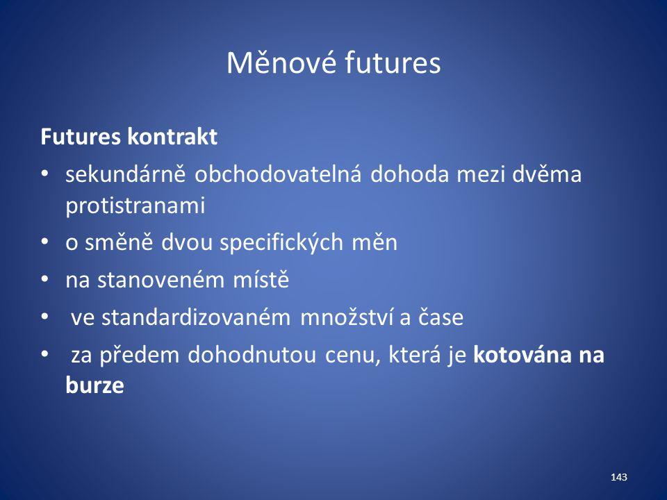 Měnové futures Futures kontrakt sekundárně obchodovatelná dohoda mezi dvěma protistranami o směně dvou specifických měn na stanoveném místě ve standardizovaném množství a čase za předem dohodnutou cenu, která je kotována na burze 143