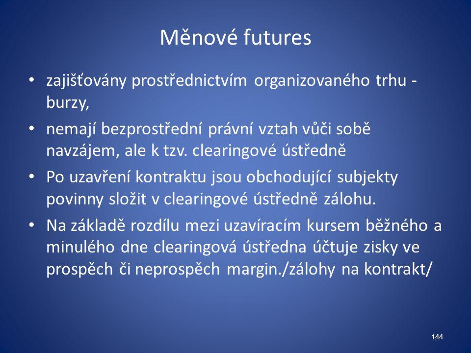 Měnové futures zajišťovány prostřednictvím organizovaného trhu - burzy, nemají bezprostřední právní vztah vůči sobě navzájem, ale k tzv.