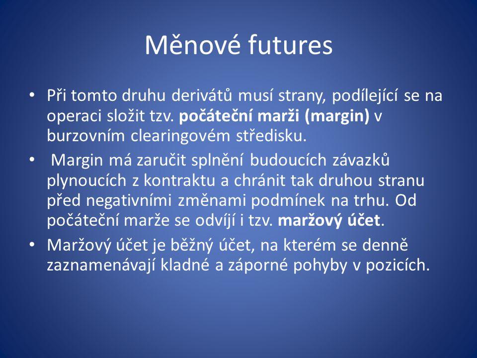 Měnové futures Při tomto druhu derivátů musí strany, podílející se na operaci složit tzv.