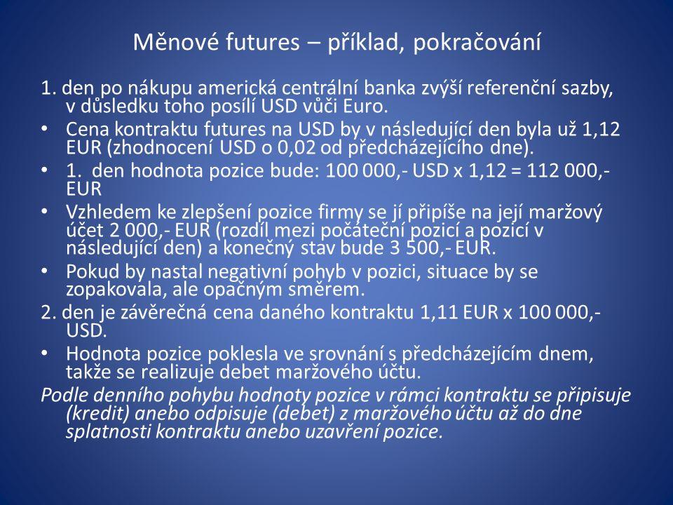 Měnové futures – příklad, pokračování 1. den po nákupu americká centrální banka zvýší referenční sazby, v důsledku toho posílí USD vůči Euro. Cena kon