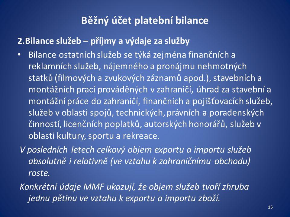 Běžný účet platební bilance 2.Bilance služeb – příjmy a výdaje za služby Bilance ostatních služeb se týká zejména finančních a reklamních služeb, náje