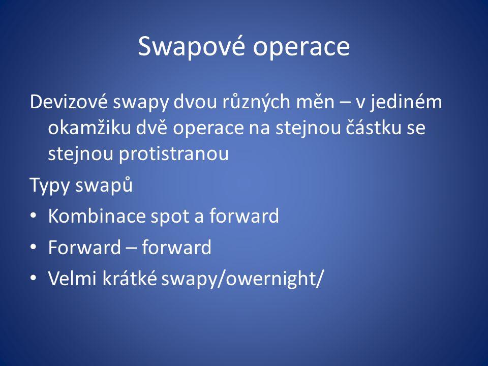 Swapové operace Devizové swapy dvou různých měn – v jediném okamžiku dvě operace na stejnou částku se stejnou protistranou Typy swapů Kombinace spot a forward Forward – forward Velmi krátké swapy/owernight/