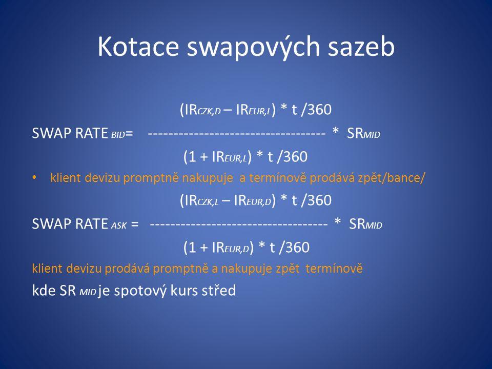 (IR CZK,D – IR EUR,L ) * t /360 SWAP RATE BID = ----------------------------------- * SR MID (1 + IR EUR,L ) * t /360 klient devizu promptně nakupuje