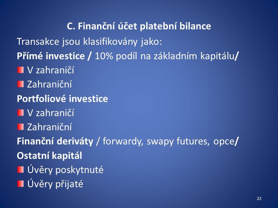 C. Finanční účet platební bilance Transakce jsou klasifikovány jako: Přímé investice / 10% podíl na základním kapitálu/ V zahraničí Zahraniční Portfol