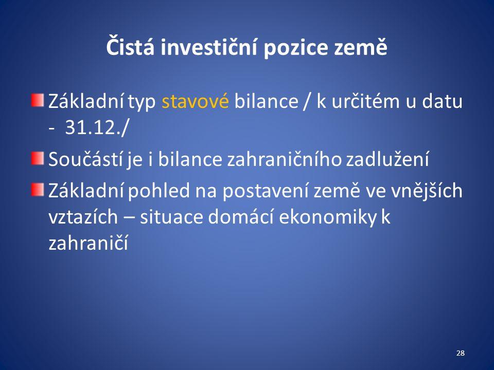 Čistá investiční pozice země Základní typ stavové bilance / k určitém u datu - 31.12./ Součástí je i bilance zahraničního zadlužení Základní pohled na postavení země ve vnějších vztazích – situace domácí ekonomiky k zahraničí 28