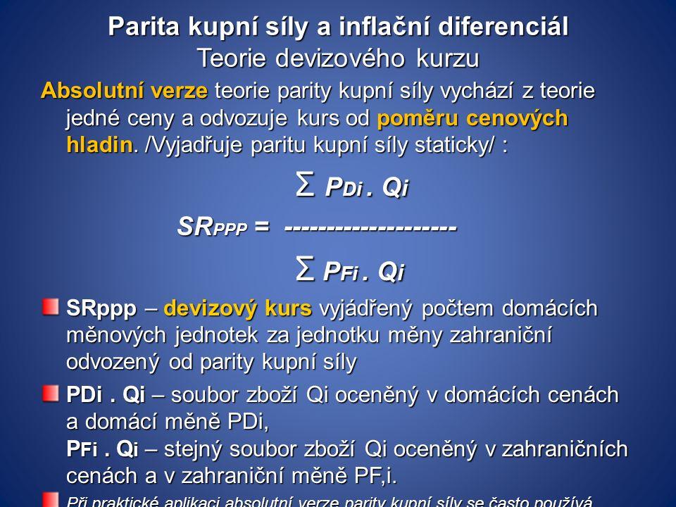 Parita kupní síly a inflační diferenciál Teorie devizového kurzu Absolutní verze teorie parity kupní síly vychází z teorie jedné ceny a odvozuje kurs od poměru cenových hladin.